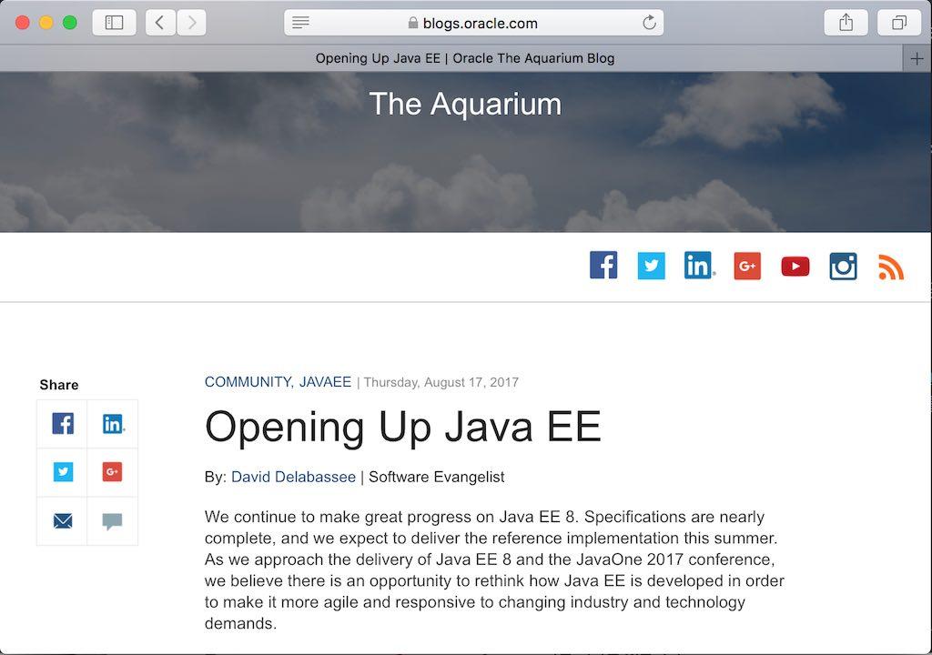 오라클 블로그 포스트: Opening Up Java EE