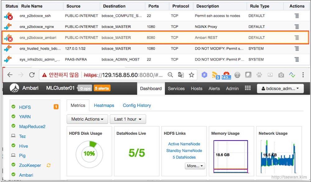 Oracle BDC의 Ambari 보안 설정 변경