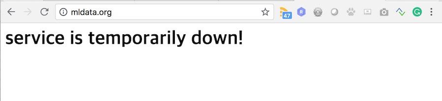 mldata.org 서비스 장애 화면