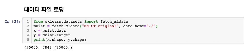 data_home을 지정하여 MNIST original 로딩