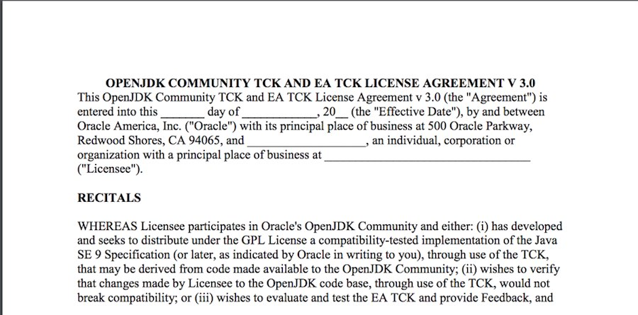 OTCLA 신청서(http://openjdk.java.net/legal/OCTLA-JDK9+.pdf)