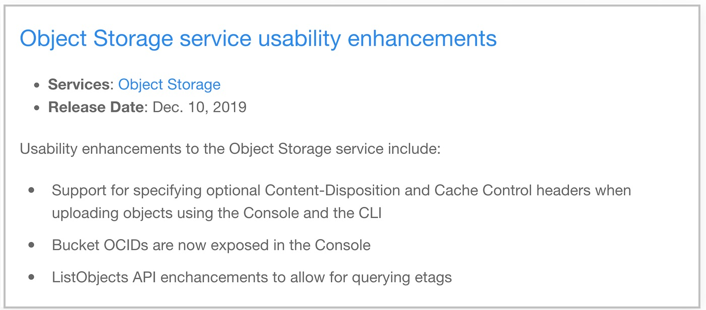 [OCI Release Note] Object Storage 새기능 요약