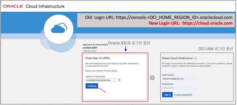 OCI Console 단일 URL