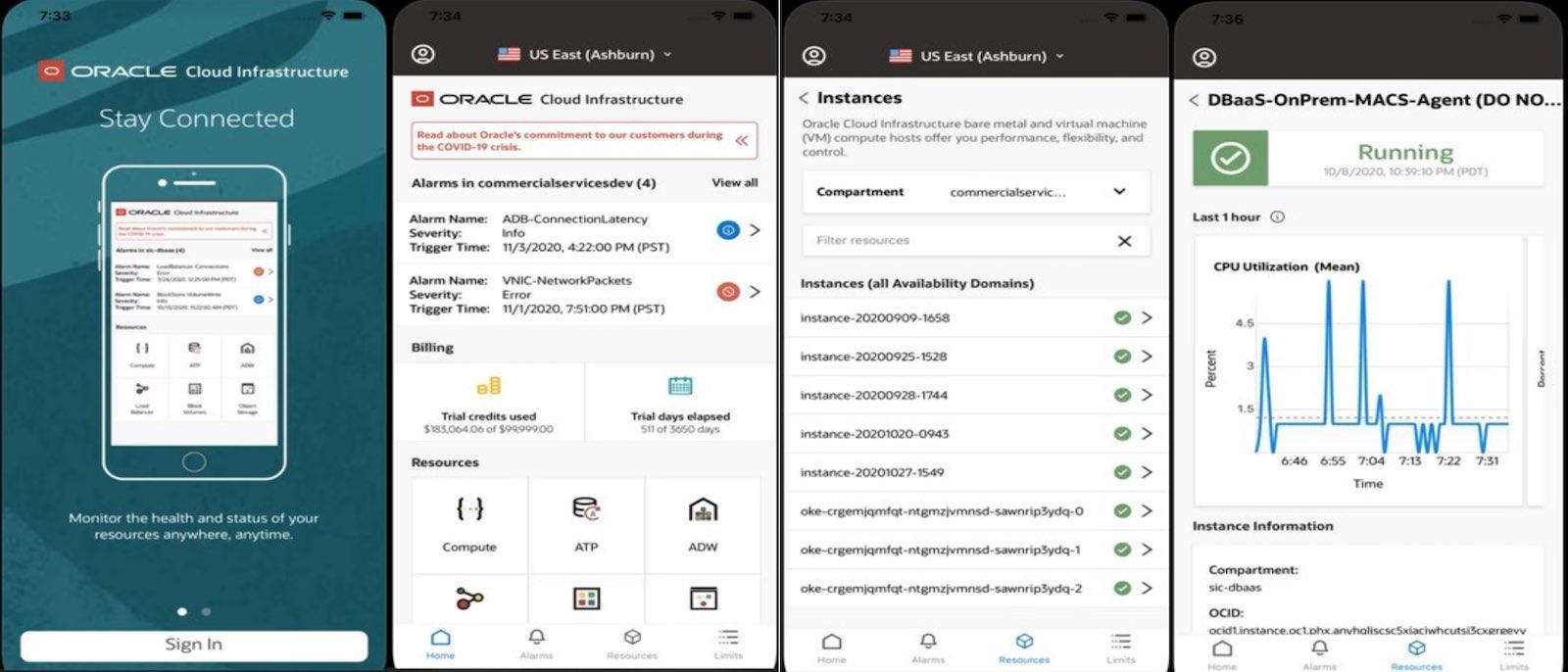 OCI 관리 모바일 앱(Mobile App)
