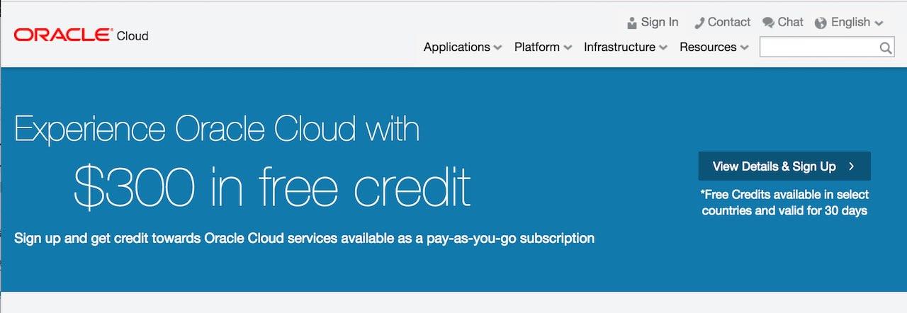 Oracle Cloud Trial 신청: Universal Credit